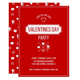 Carte Carte de partie de Saint-Valentin de symboles de