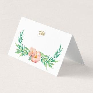 Carte De Placement Carte florale d'endroit de mariage de verdure et