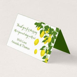 Carte De Placement Citron de Merci et agrume jaunes de feuille de