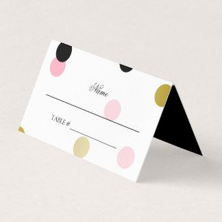 Carte De Placement Confettis noirs et roses d'or