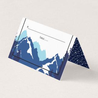 Carte De Placement Escorte pliée par mariage bleu d'hiver de