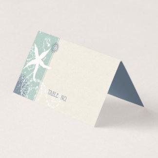 Carte De Placement Mariage bleu sombre de bord de la mer de jade