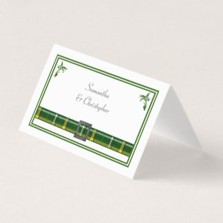 Carte De Placement Mariage vert de plaid de tartan
