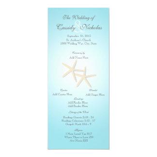 Carte de programme de mariage d'étoiles de mer carton d'invitation  10,16 cm x 23,49 cm