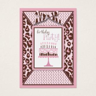 Carte de rappel d'anniversaire de fille de guépard
