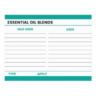 Carte de recette d'huile essentielle - Teal