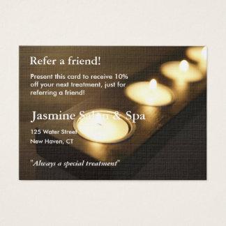 Carte de référence avec les bougies votives