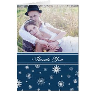 Carte de remerciements blanc bleu de mariage