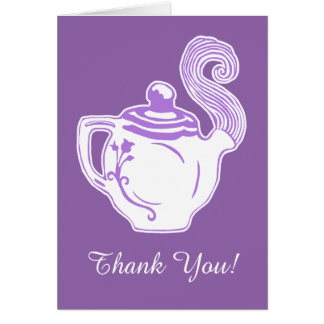 Carte de remerciements blanc de lavande de théière