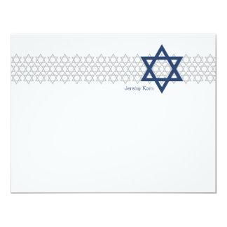 Carte de remerciements brillant de bleu de Mitzvah