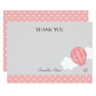 Carte de remerciements chaud rose de ballon à air