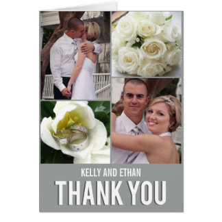 Carte de remerciements chic de mariage de collage