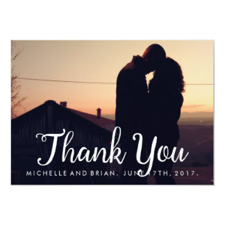 Carte de remerciements cursif de photo de mariage carton d'invitation  12,7 cm x 17,78 cm