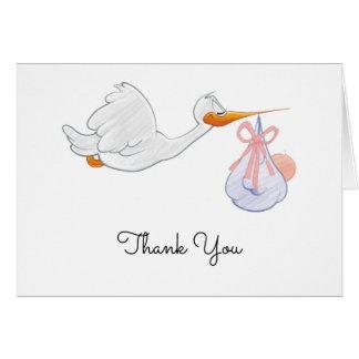 Carte de remerciements de baby shower de cigogne