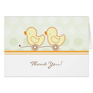 Carte de remerciements de baby shower - jumeaux