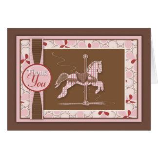 Carte de remerciements de cheval de carrousel