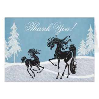 Carte de remerciements de cheval d'hiver de jument
