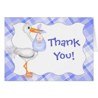 Carte de remerciements de cigogne et de bébé