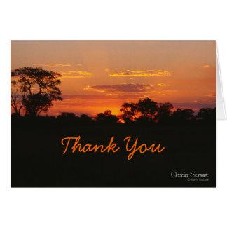 Carte de remerciements de coucher du soleil