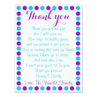 Carte de remerciements de douche de bébé de bébé carton d'invitation 10,79 cm x 13,97 cm