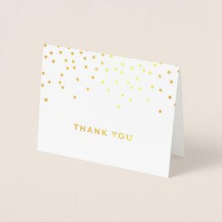 Carte de remerciements de feuille d'or de point de
