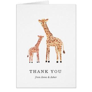 Carte de remerciements de girafe