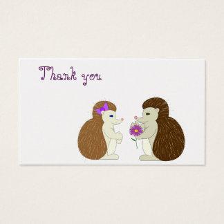 Carte de remerciements de hérisson