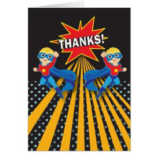 Carte de remerciements de jumeaux du super héros  