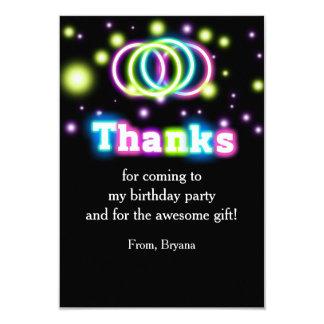 Carte de remerciements de lampes au néon de fête
