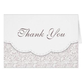 Carte de remerciements de mariage de dentelle de