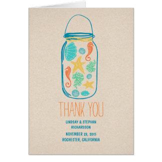 Carte de remerciements de mariage de pot de maçon