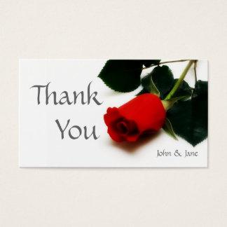 Carte de remerciements de mariage de rose rouge