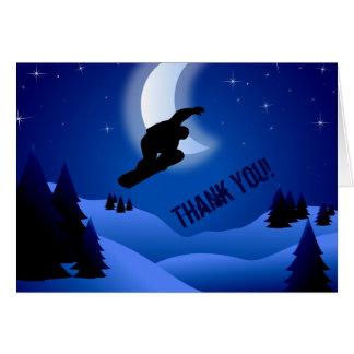 Carte de remerciements de montagne de snowboarding
