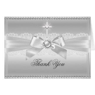 Carte de remerciements de perle d'arc élégant et