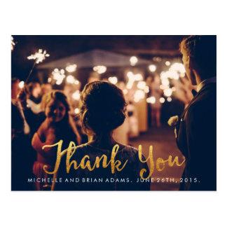 Carte de remerciements de photo de mariage d'or de