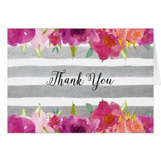 Carte de remerciements de roses d'aquarelle
