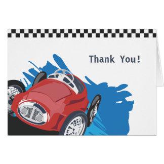 Carte de remerciements de voiture de course