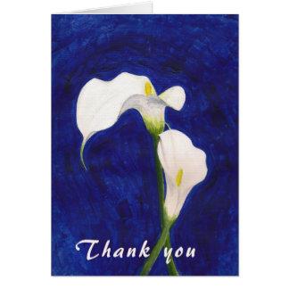 carte de remerciements de zantedeschias