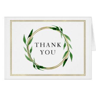 Carte de remerciements d'or de mariage de