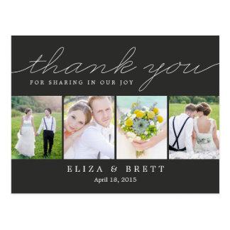 Carte de remerciements doux de mariage de collage