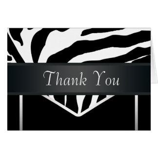 Carte de remerciements élégant noir argenté de