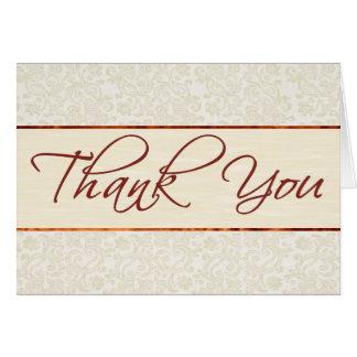 Carte de remerciements en ivoire de dentelle