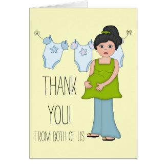 Carte de remerciements enceinte de baby shower de