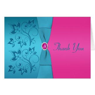 Carte de remerciements floral de fuchsia et de