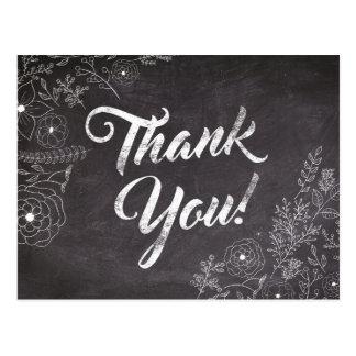 Carte de remerciements floral de tableau rustique