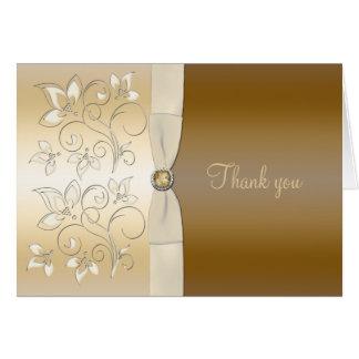 Carte de remerciements floral d'ivoire et de