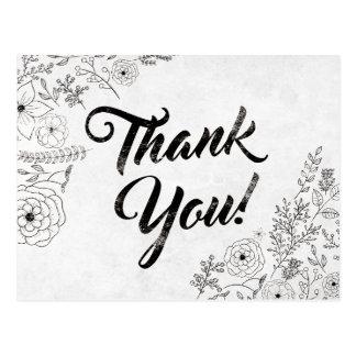 Carte de remerciements floral noir et blanc
