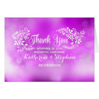 carte de remerciements floral pourpre de mariage