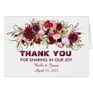 Carte de remerciements floral rouge de mariage de