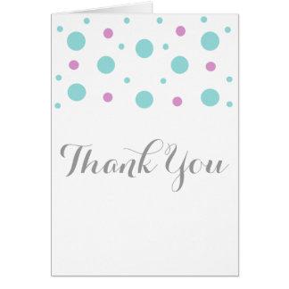 Carte de remerciements fuchsia de confettis de